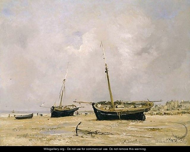 Boats, low tide - Jules Jacques Veyrassat