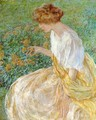The Yellow Flower aka The Artist-s Wife in the Garden - Robert Reid