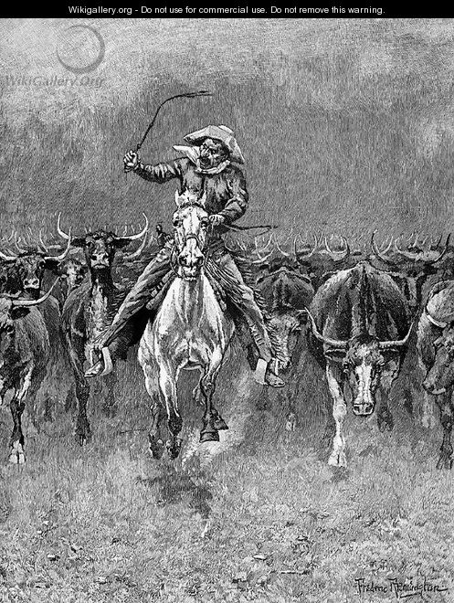 In a Stampede - Frederic Remington