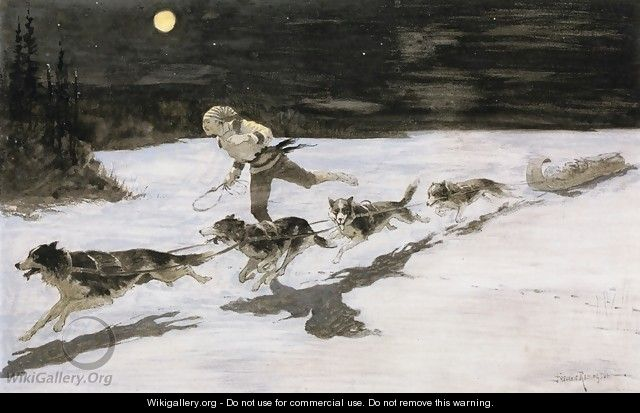 Huskie Dogs on the Frozen Highway (aka Talking Musquash) - Frederic Remington