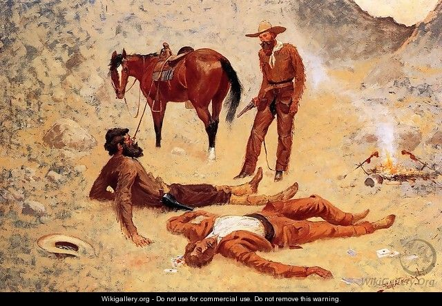 He Lay Where He Had Been Jerked, Still as a Log (aka Jerked Down) - Frederic Remington