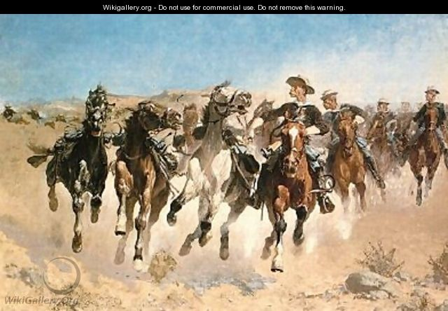Dismounted, The Fourth Trooper Moving the Led Horses - Frederic Remington
