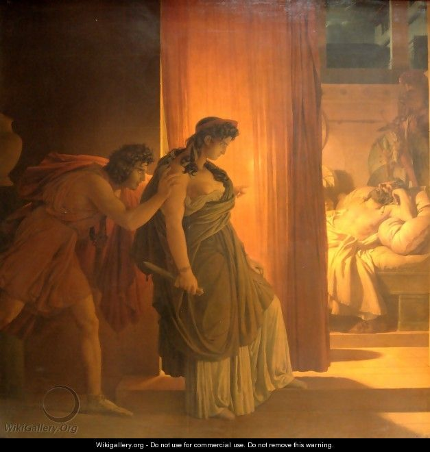 Clytemnestra hesitates before killing the sleeping Agamemnon - Pierre-Narcisse Guerin