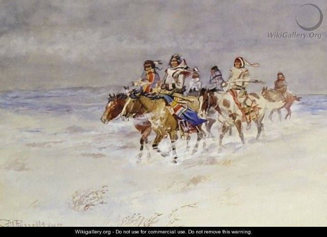War Party In Winter - Charles Marion Russell