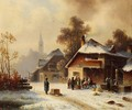 Village scene in winter - Anton Doll