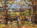 Squanton (also known as Men in Park with a Wagon, Squanton) - Maurice Brazil Prendergast