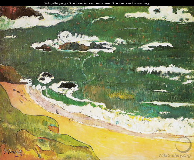 The beach at Pouldu - Paul Gauguin