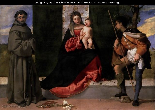 Madonna and Child with Sts Anthony of Padua and Roch - Tiziano Vecellio (Titian)
