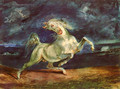 Before lightning shrinking of horse - Eugene Delacroix