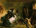 Arabian Horses Fighting in a Stable - Eugene Delacroix