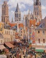 The Old Market and the Rue de l'Epicerie in Rouen - Camille Pissarro