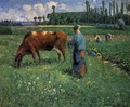 Girl Tending a Cow in a Pasture - Camille Pissarro