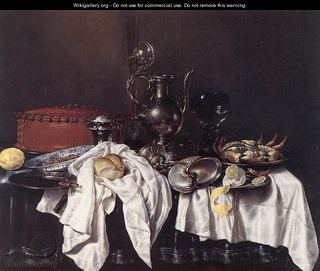 Still-Life with Pie, Silver Ewer and Crab 1658 - Willem Claesz. Heda