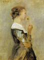 A woman with a flower - Jean-Baptiste-Camille Corot