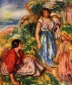 Two women with young girl in a landscape - Pierre Auguste Renoir