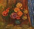 Still life, roses before blue curtain - Pierre Auguste Renoir