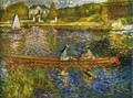 River with boats at Asnères - Pierre Auguste Renoir