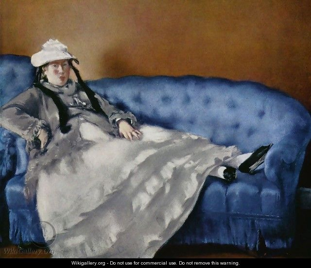 Portrait of the woman on a blue sofa - Edouard Manet