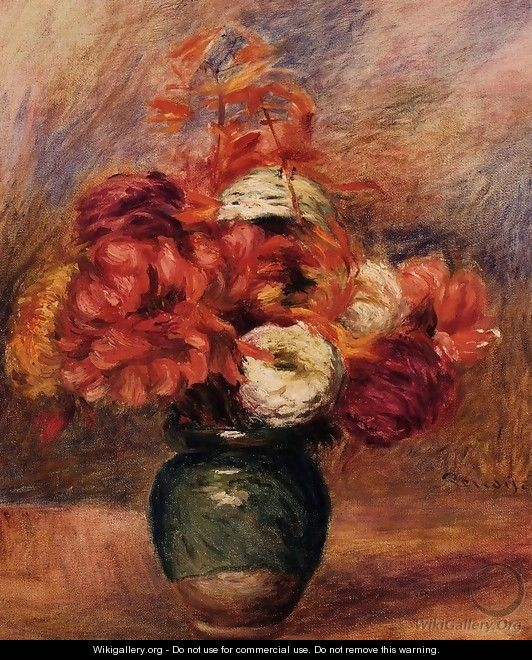 Dahlias and Asters - Pierre Auguste Renoir