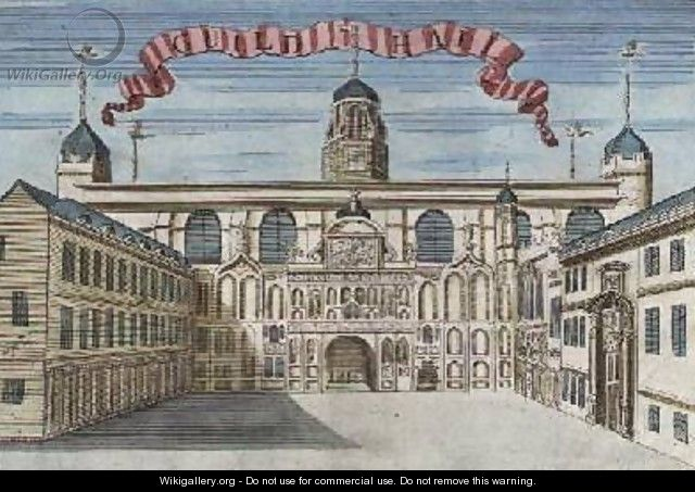 Guildhall from A Book of the Prospects of the Remarkable Places in and about the City of London - Robert Morden