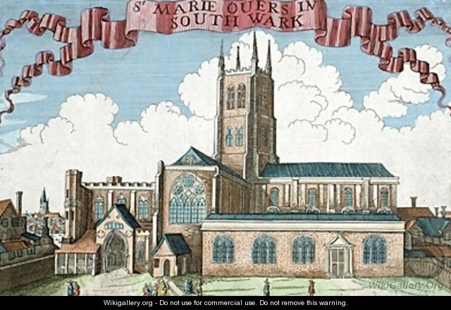 St Marie Overie in Southwark from A Book of the Prospects of the Remarkable Places in and about the City of London - Robert Morden