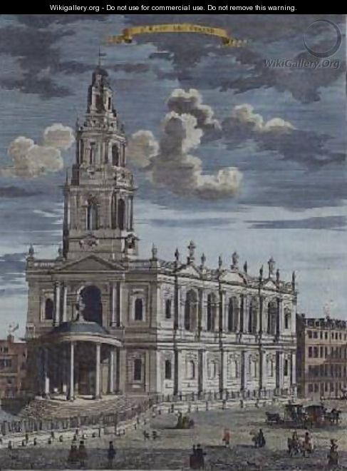 St Mary le Strand from A Book of the Prospects of the Remarkable Places in and about the City of London - Robert Morden