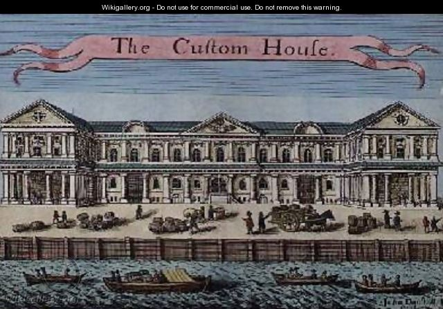 Customs House from A Book of the Prospects of the Remarkable Places in and about the City of London - Robert Morden