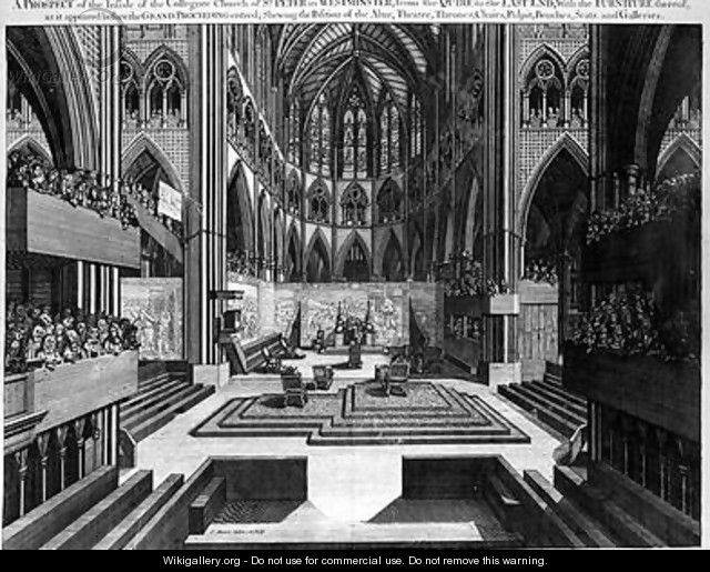 A Prospect of the Inside of the Collegiate Church of St Peter in Westminster Westminster Abbey before the Coronation of James II 1633-1701 1688 - Samuel Moore