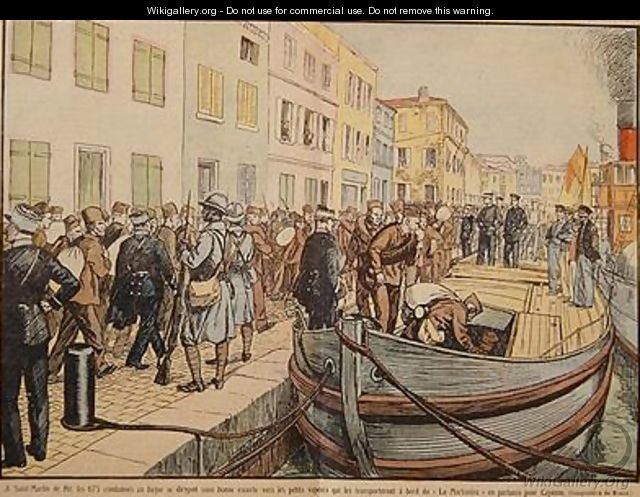 Convicts leaving Saint Martin de Re for the penal colony of Cayenne in Guyana - A. R. Moritz