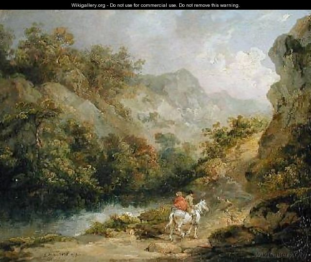 Rocky Landscape with Two Men on a Horse 1791 - George Morland