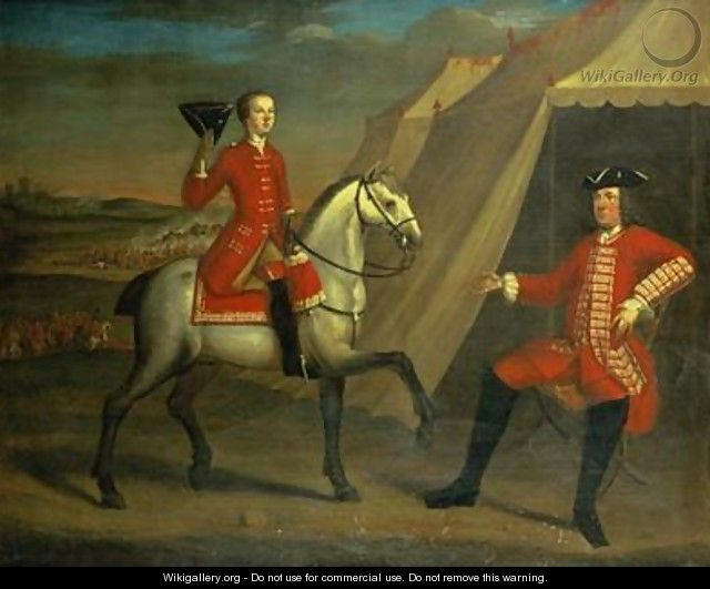 Portrait of an officer said to be General Wolfe on horseback - David Morier