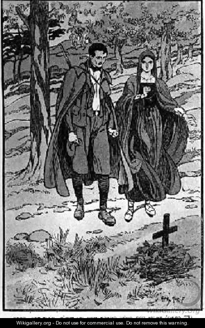 Colomba and her brother Orso beside their fathers grave - Henry Morin