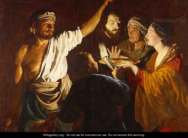 1640 before Salome receiving the Head of John the Baptist - Matthias Stomer