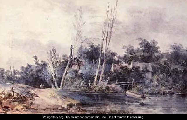 Cottages and willow by a stream with figures - Louis-Gabriel Moreau the Elder