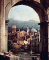 Capriccio Romano, and gate tower, detail - Bernardo Bellotto (Canaletto)