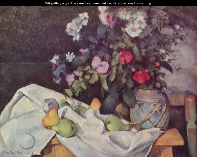 Still life with flowers and fruits - Paul Cezanne