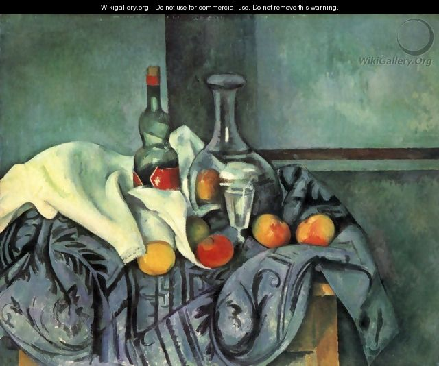Still life with bottle and jug - Paul Cezanne