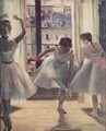 Three dancers in a exercise hall - Edgar Degas