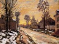 Road at Louveciennes, Melting Snow, Sunset - Claude Oscar Monet