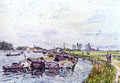 Freight punts with Saint Mammès - Alfred Sisley