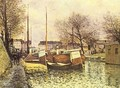 Punts on the channel Saint Martin in Paris - Alfred Sisley