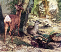 A Thicket of Deer at the Stream of Plaisir-Fountaine, Detail - Gustave Courbet