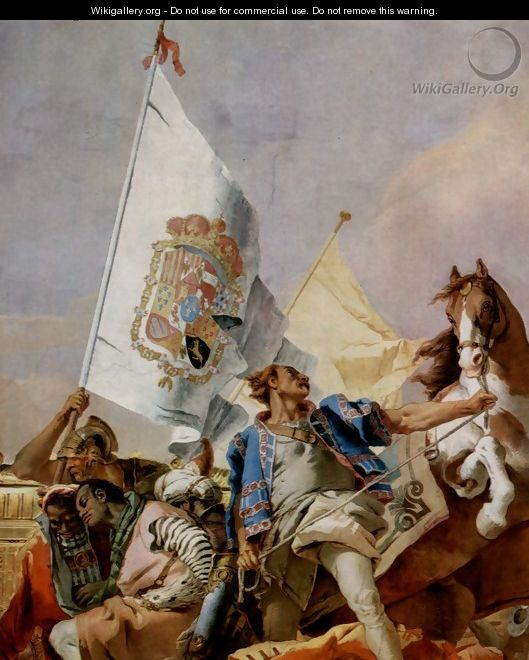 Frescoes in the Royal Palace of Madrid, scene, lauding Spain, detail 2 - Giovanni Battista Tiepolo
