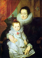 Portrait of Marie Clarisse, woman of Jan Woverius, with her child - Sir Anthony Van Dyck