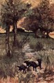 Two pigs on pasture - Giovanni Fattori