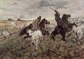 Two mounted with shepherds herd bull - Giovanni Fattori