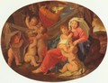 Holy Family with angels, Oval - Nicolas Poussin