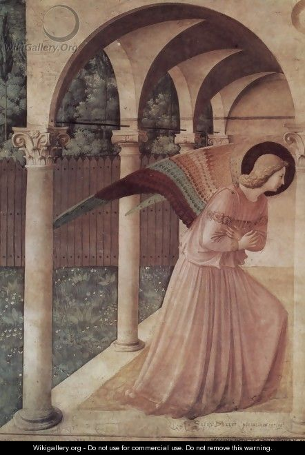 Proclamation, detail Annunciation angel - Angelico Fra