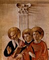 Mary and the Christ child and saints, detail Evangelist John, v. Thomas Aquinas, Lawrence Martyr - Angelico Fra