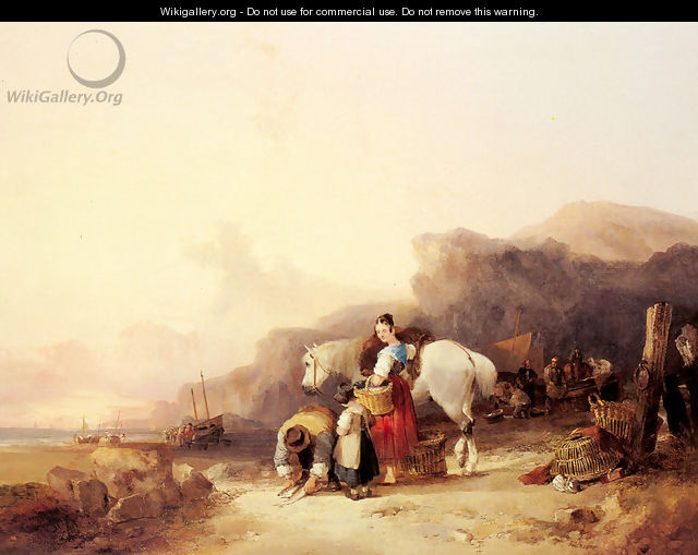 Beach Scene with Fisherfolk - William Joseph Shayer